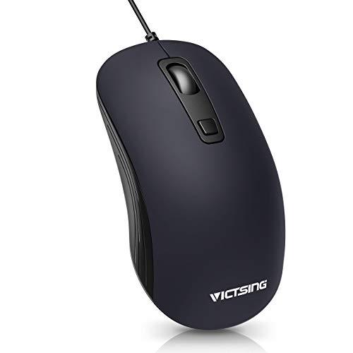 VicTsing Computermaus mit Kabel, USB Maus mit 4 einstellbare DPI-Modi Laptop PC Desktop Mouse Kompatibel mit Windows, Linux, 1.5M Kabel (Dunkelblau)