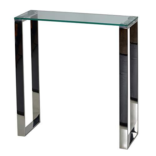 Cortesi Home Forli Konsolentisch, klein, modernes Glas und Edelstahl-Finish, 71,1 cm breit