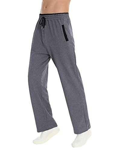 Sykooria Pantalon Chandal Hombre Pantalones Hombre Casual con Bolsillos Pantalón Deporte Hombre de Algodón Pantalones Largos Hombre para Fitness Running Gym,Gris,S