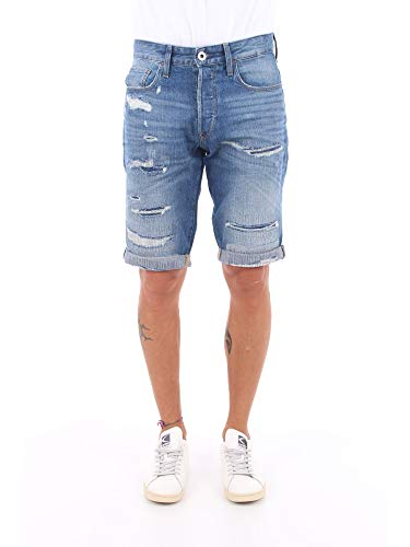 G-STAR RAW Herren 3301 Tapered Shorts, Blau (Faded Ripped Shore 8973-B166), 33W