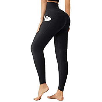 Letsfit High Waisted Leggings for Women Yoga Pants with Pockets and Tummy Control for Workout Running Cycling Gym Black XX-Large