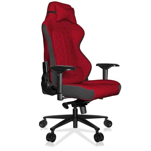 REKT ULTIM8 Plus – Silla de oficina Gaming XL de gran tamaño en tejido Premium – Inclinable a 180° – Reposabrazos 4D – Cojín ajustable para la nuca – Cojín lumbar – Soporta 150 kg (rojo)