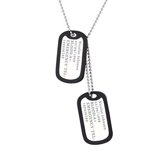 U7 Uomo Collana Personalizzata Pendente Militare 2 Cindoli Dog Tag, Cindolo + Catena 60 cm, Acciaio Inossidabile, Regalo Compleanno, con Confezione, Gioiello alla Moda, Argento