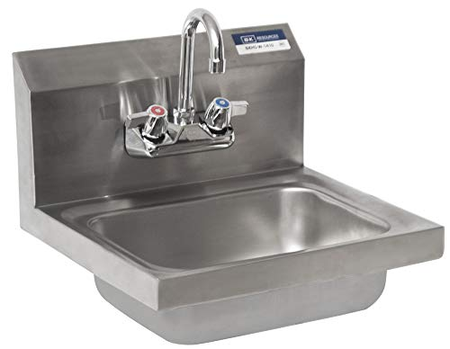 BK Resources BKHS-W-1410-P-G Wall Mount Stainless Steel Hand Sink with 4' On Center Splash Mount 3.5' Gooseneck Faucet, 14' Wide x 10' Front-to-Back x 5' Deep Bowl
