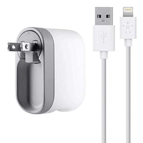 Belkin USB Swivel Home and Wall Charger with Lightning Cable for iPhone, iPad, and iPod, Compatible with iPhone 11, 11 Pro, 11 Pro Max, XS, XS Max, XR, X, 8, 8 Plus and previous iPhone models with Lightning connector, White, 1 Port (F8J032tt04-WHT)
