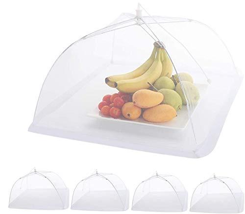 ilauke Fliegenhaube, 5er Set Abdeckhaube für Essen Faltbare Kuchenabdeckung Fliegenschirm Lebensmittel Abdeckung, Zelt vor Insekten schützen, 43x43cm, Weiß