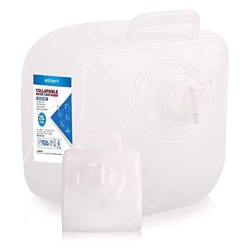 REDCAMP Faltbar Wassertank, Tragbar Wasserkanister mit Hahn, 20L Kanister Lebensmittelecht BPA Frei für Camping
