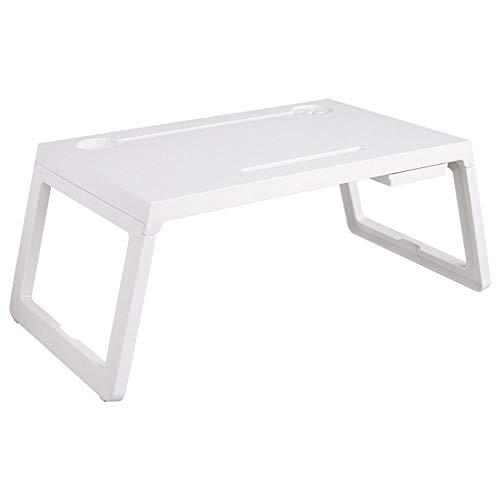 Klaptafel voor Bed, draagbare laptop Plastic Bureau, met Card Slot, opladen Hole en bekerhouder, voor slaapkamer en woonkamer,White