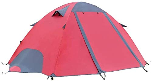 LAZ Tents Double Layer Camping Tent Rain-Proof Windproof Compact Beach Tents Festival Tents for 2 People (Color : Red A, Size : Glass fiber bracket)