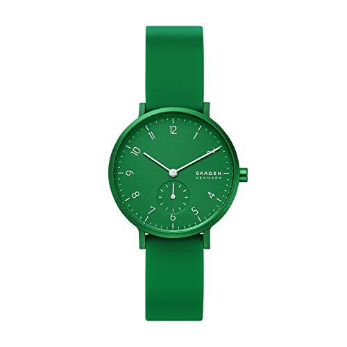 Skagen Women's Aaren Quartz Analog Stainless Steel and Silicone Watch, Color: Green (Model: SKW2804)
