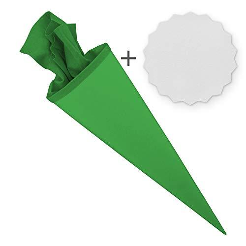 itenga Set Bastelschultüte rund 70 cm inkl. Namensschild in Stern Form - Schultüte Zuckertüte Rohling Personalisieren Name Schulkind (Grün)
