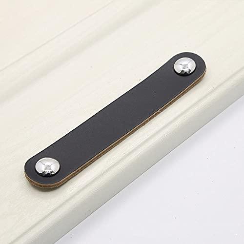 Armario Manijas de tocador de cuero suave Tiradores de cajones Equipo Gabinete Cocina Perillas y manijas de puerta modernas negras para muebles, MBS0043,2,1pcs