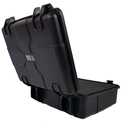 Valigia rigida impermeabile nera con schiuma protettiva pre-tagliata   Custodia rigida ermetica per fotocamere da esterno   Rugged Shockproof Waterproof   Scatola da trasporto 28 x 24,5 x 10,8 cmBLK