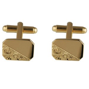 British Jewellery Workshops Boutons de Manchettes 11x15mm en Plaqué Or gravés à la Main