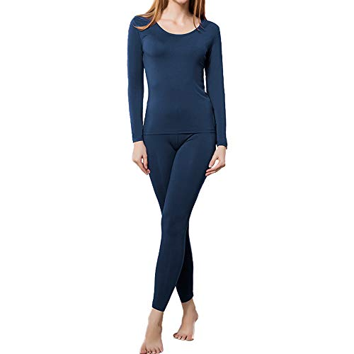 HEROBIKER Thermal Underwear Women Ultra-Soft Set Base Layer Top & Bottom Long Johns with Warm Lined Winter Blue