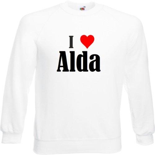 Reifen-Markt Sudadera I Love Alda para mujer, hombre y niños en los colores negro, blanco y azul con estampado Blanco XXL