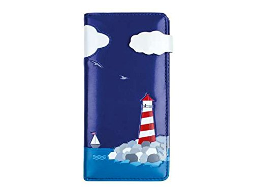 bb-Klostermann Langbörse Portemonnaie Geldbörse für die Jungen Damen Model 'Leuchtturm', Farbe:Blau
