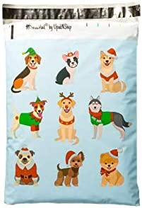 10x13 - Adorable Festive Dogs Designer Mailers Poly Printed Chr Our shop OFFers the best service 67% OFF of fixed price