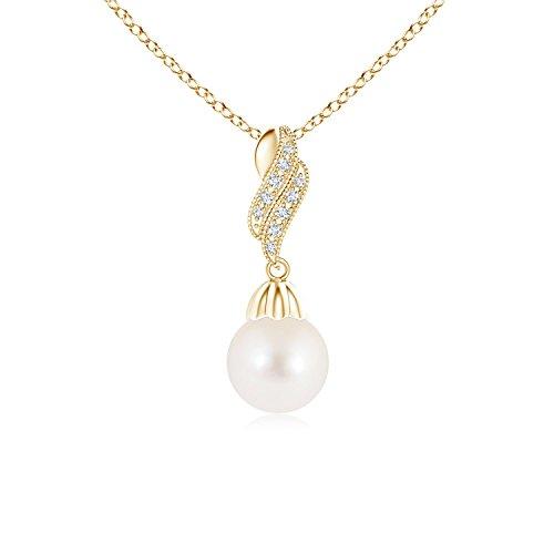 Vintage perla pendenti collana con diamante Flame e Oro giallo, cod. ANG-P-SP0973FWPRD-YG-AAA-8