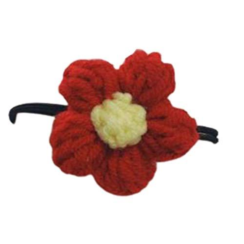 Mujeres NIÑOS NIÑAS Lanas Hecho a Mano Clip de Flor Rojo, Broche Bow Pinder Pulsera Coreano, Regalos de joyería TINGG (Color : C)