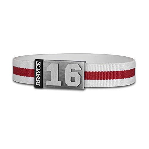 BRAYCE® Trikot am Handgelenk® mit Deiner Trikot Nummer 00-99 I Armband weiß & rot I Sportarmband/Teamarmband personalisierbar & handgemacht