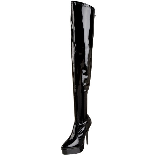 Pleaser Damen Indulge-3000 Plateau-Stiefel, Schwarz (Black Stretch Patent), 46 EU