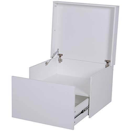 HOMCOM Schuhschrank Schuhregal Schuhbank mit Schublade und Klappe Holz Weiß 70 x 60 x 42 cm