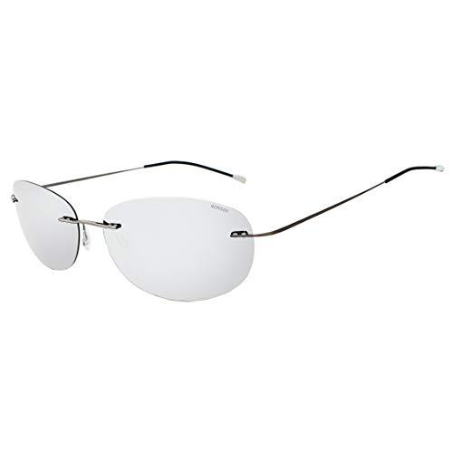 RONSOU Gafas de Sol Polarizadas a La Moda Coloridas y Sin Montura Titanio para Hombres y Mujerse Marco Gris Lente Plateado(reflejado)