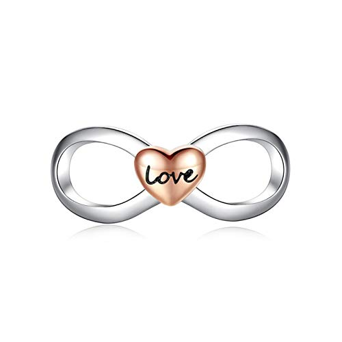 LILIANG Charm Jewelry Silver Infinity Love Charms Fit Original Pulsera 925 Sterling Silver Bead Charm con Rose Gold Heart Beads DIY Jewelry