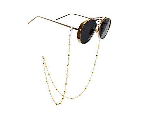 Soporte de cadena para gafas, con diseño de cuentas de cristal cadena de gafas de sol, cordones y sujetador del cuello para mujeres, oro, 81cm