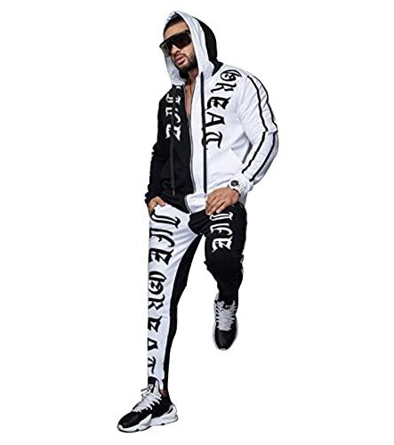 ZHMIAO Chándal con Capucha con Capucha Cremallera Ropa Deportiva Dos Conjunto, Chaqueta Casual al Aire Libre pantalón Manga Larga Pantalones Sudadera Joggers recreación Act White-XL(175~180cm)