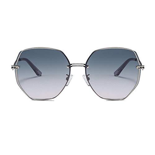 Intramachine 2021 rahmenlose multilaterale Metallsonnenbrille koreanischen Stil gebogenen Beinen Persönlichkeitstrend Damen Schatten Sonnenbrille