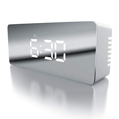 CSL - LED Wecker digital inkl. Temperaturanzeige - Reisewecker Alarmwecker - Innen-Temperaturanzeige - Schlummerfunktion - 12-24-h-Format - Nachtmodus - 2X Helligkeitsstufen - weiß