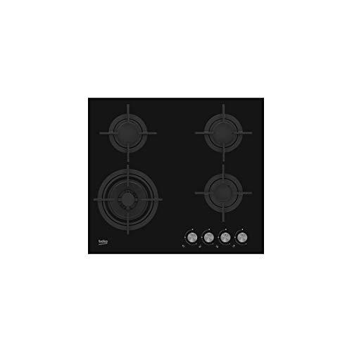 Beko HILW64222S integrierter Gaskochfeld, Glas, Schwarz, Gusseisen, 1000 W, Schwarz