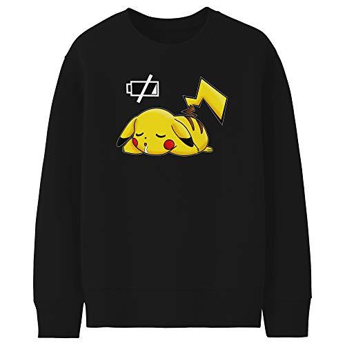 Okiwoki Pull Enfant Noir Parodie Pokémon - Pikachu - Batterie à Plat ! (Sweatshirt de qualité Premium de Taille 11-12 Ans - imprimé en France)