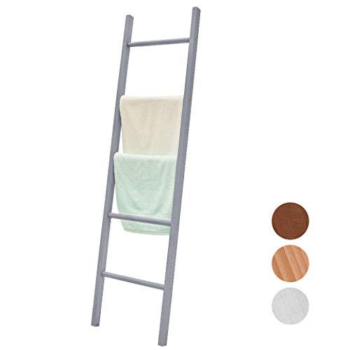 BALIBETOV Escalera Decorativa de Madera Pino Premium - Escalera Ideal para Colgar Toallas o Mantas - Organizadora para Baño, Living u Oficina. Moderna Chic (Gris, 150 cm)