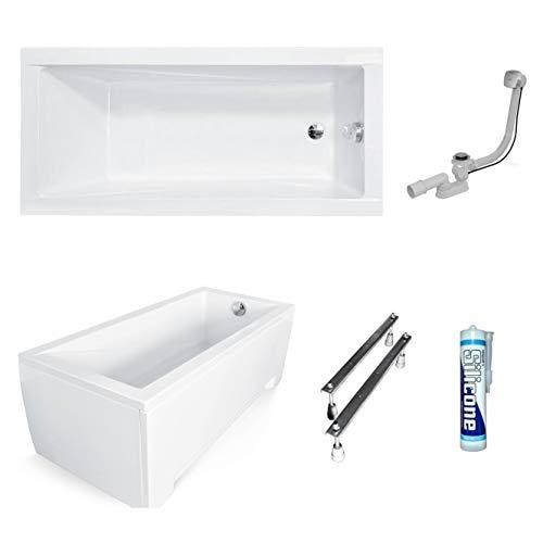 ECOLAM Badewanne Wanne Rechteck Modern Design Acryl weiß 130x70 cm + Schürze Ablaufgarnitur Ab- und Überlauf Automatik Füße Silikon Komplett-Set
