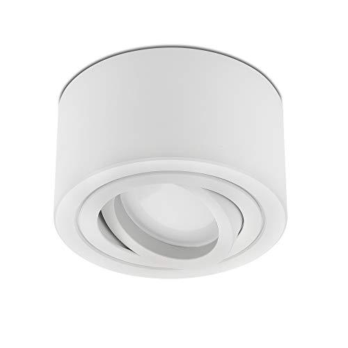 lambado® Flache LED Aufbauleuchte/Deckenstrahler Set inkl. 230V 5W Spots dimmbar - dezente Aufbaustrahler/Deckenspots (rund, weiss, schwenkbar)