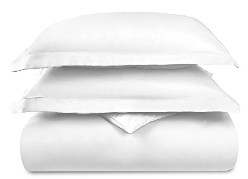 HC COLLECTION-1500 Thread Count Egyptian Quality Duvet Cover Set, 3pc Luxury Soft, All Sizes & Colors, King-White