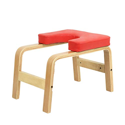 Best Prices! VAIY Wooden Yoga Headstand Bench, Leather Pad Stand Yoga Inversion Chair (Color : Red)