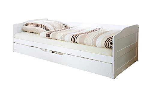 Doppelbett Funktionsbett Sofabett Melinda Kiefer massiv Weiss