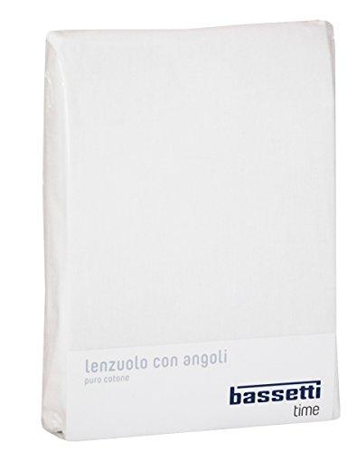 OFFERTA LENZUOLO SOTTO CON ANGOLI MATRIMONIALE LETTO 2 DUE PIAZZE CM 175 x 200 BASSETTI TIME TINTA UNITA 100% PURO COTONE (BIANCO - 1000)