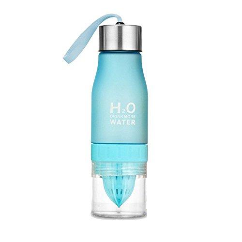 650ml H2O Wasser Flasche Tragbar Gesundheit Juice Lemon Fruit-Ei Squeezer Cup–Create Your Own natürlich nach Honig infundiert Wasser, Saft, Eistee, Limonade & Sparkling Getränke blau