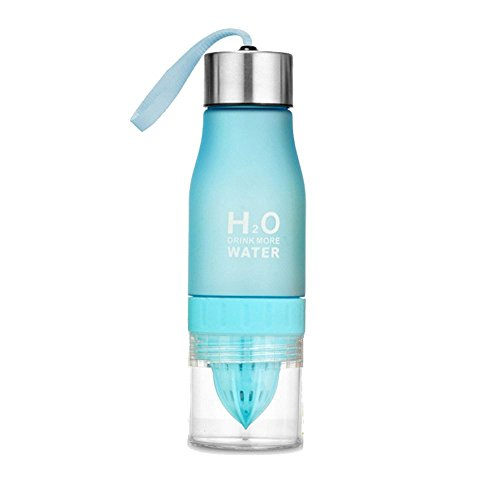 650 ml H2O - Botella de agua portatil exprimidor jugo Limon Fruta Infusor Taza de salud - Crear su propia Natural Flavored Infusion de Frutas Agua, azul, 24.3 cm high x 7cm diameter