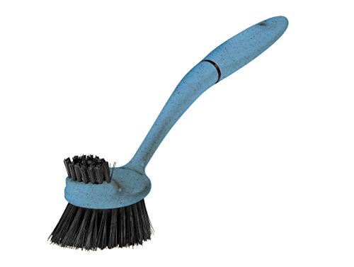 Greener Cleaner Long-Arm Dish Washing Scrub Brush Stubborn Caked-On Food Stains from Pots/Plates/Pans/Glass/Ceramic/Plastic, Hanging Easy-Grip Handle Eco-Flek (Recycled Plastic and Sustainable Wood Pulp) Dishwasher Safe for Bacteria Removal kitchen tool (Blue)