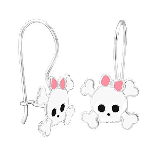 TATA GISELE  Children's Drop Earrings in Rhodium-Plated 925/000 Silver and Epoxy - Skull and Scrunchy Pink - 25 mm