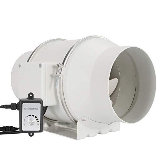 Ventilador de conducto en línea, HG POWER 6 pulgadas de ventilación con controlador de velocidad variable, ventilador extractor de motor EC 110V-240V para baño, tiendas de cultivo, hidropónico