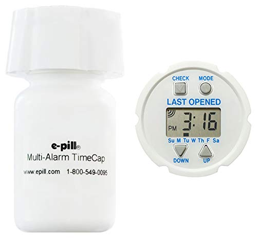 e-Pill TimeCap and Bottle - Last Opened Time Stamp – Set Up to 24 Alarms