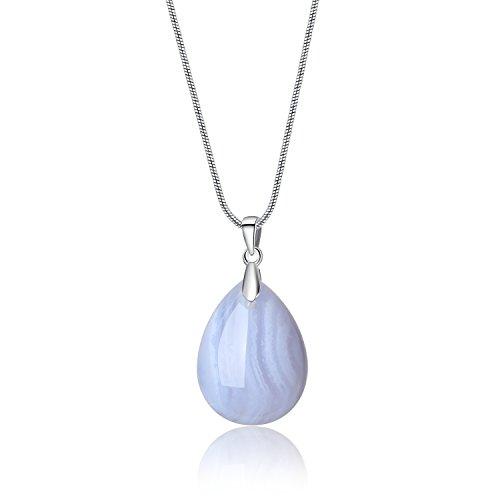 Collar de Acero Inoxidable con Colgante Gota de Agua de Ágata Azul