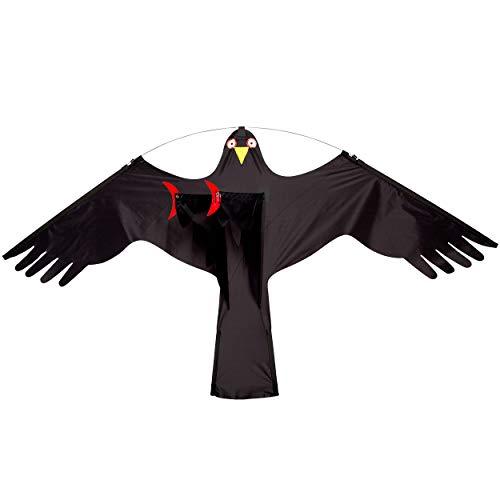 Wolkenstürmer Black Bird Vogelscheuchen Drachen, ohne Angelrute - Natürliche Vogelabwehr für Felder und Gärten